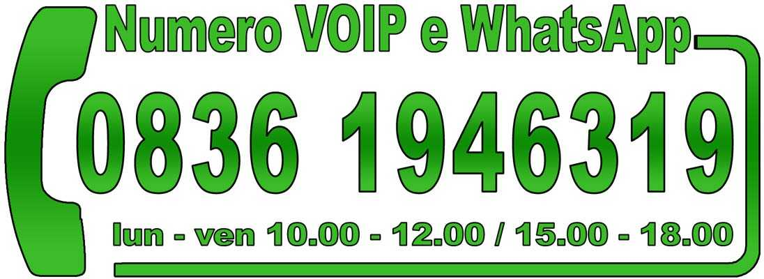 Chiamaci al numero 08361946319, anche su WhatsApp, dal lunedì al venerdì dalle 10.00 alle 12.00 e dalle 15.00 alle 18.00