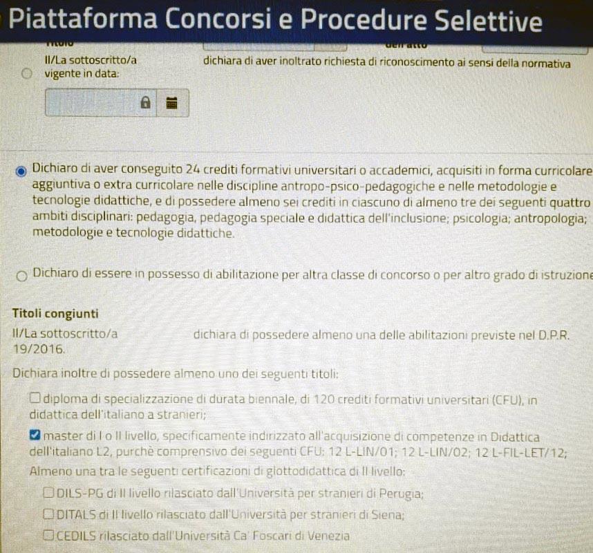 titoli di specializzazione in italiano L2